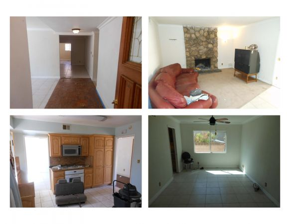 These are pictures of the hallway, living room, dining room and kitchen before and during the remodelling process.