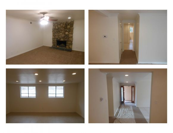 After pictures of family room, living room, and hallway.